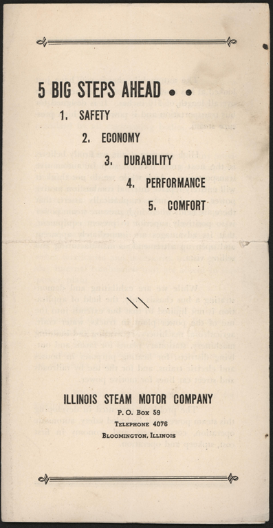 Illinois Steam Motor Company, Trade Catalogue, ca: 1925?