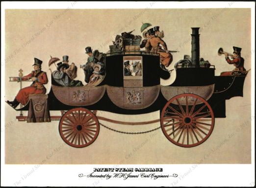 William Henry James Steam Carriage, 1824 - 1829, Modern Postcard, Front