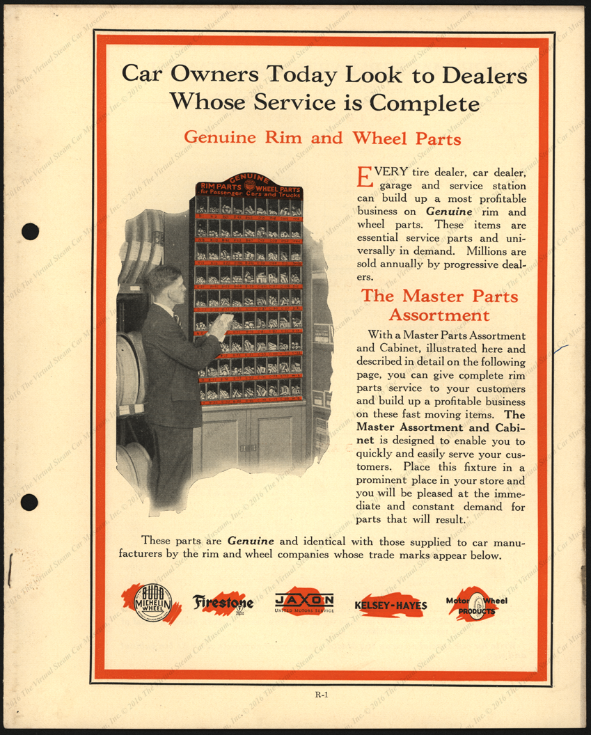 Jaxon Wheels Rims and Parts, United Motors Service Trade Catalogue, ca: 1925