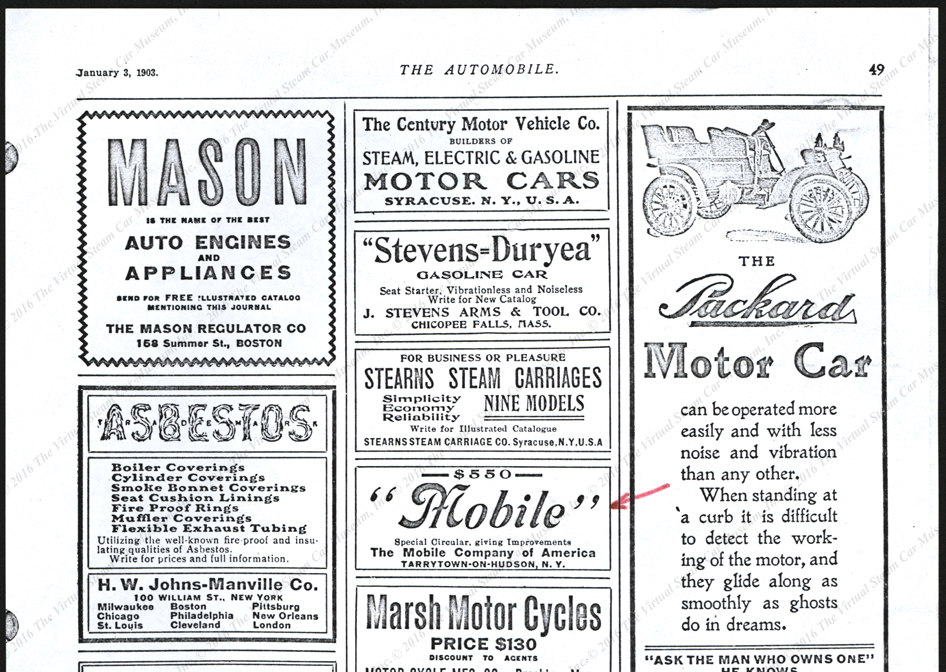 Johns-Manville Company,  Steam Automobile Asbestos Advertisement, January 3, 1903, The Automobile, P. 49