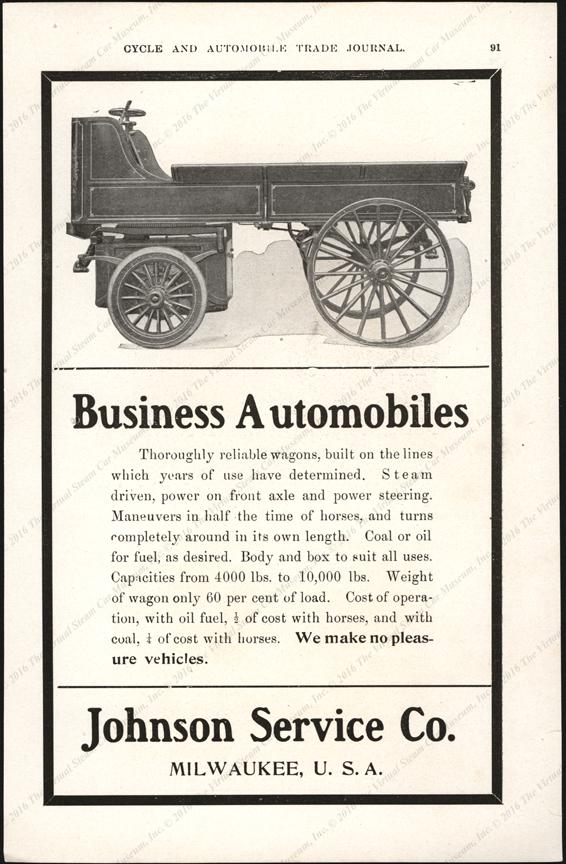 Johnson Service Company, 1904 Magazine Advertisement, Cycle and Automobile Trade Journal, p. 9
