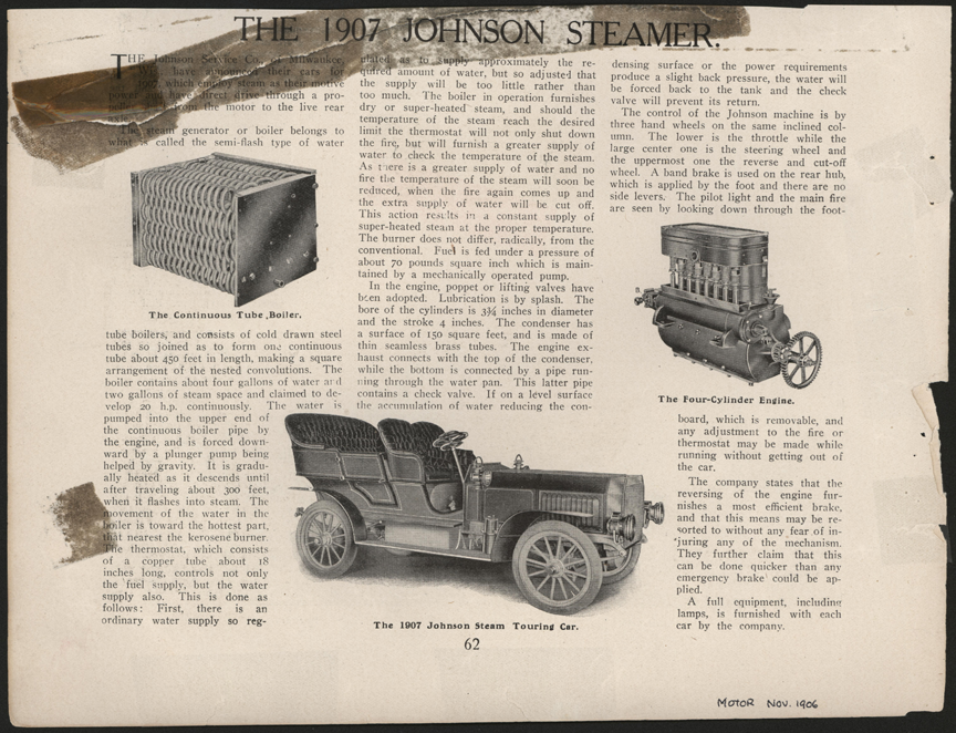 Johnson Service Company, Milwaukee, WI, November 1906, Motor Magazine, p. 62, Conde Collection.