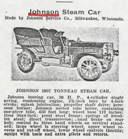 Johnson Service Company, Milwaukee, WI, Cycle and Automobile Trade Journal, March 1907, p. 226a, Conde Collection