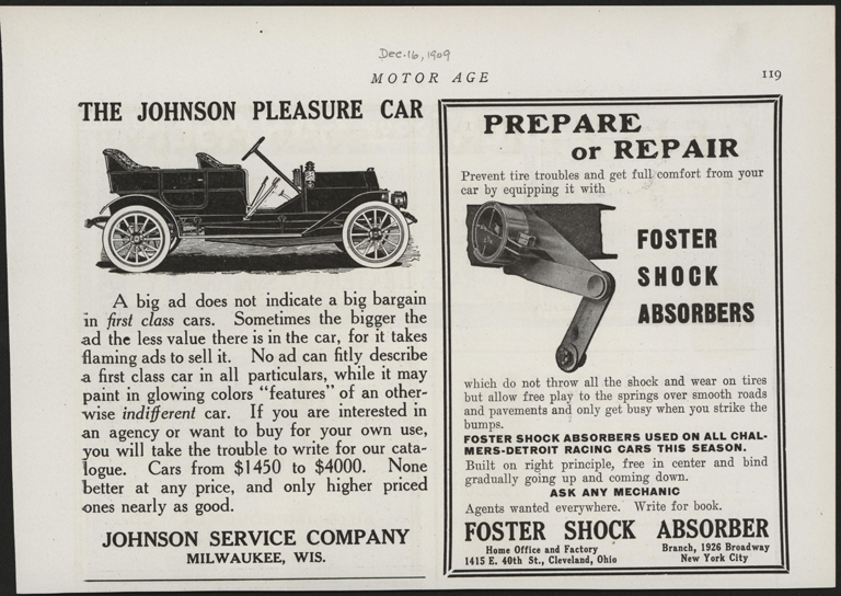 Johnson Service Company, Milwaukee, WI, December 16, 1909, Motor Age Magazine, P. 119, Conde Collection.