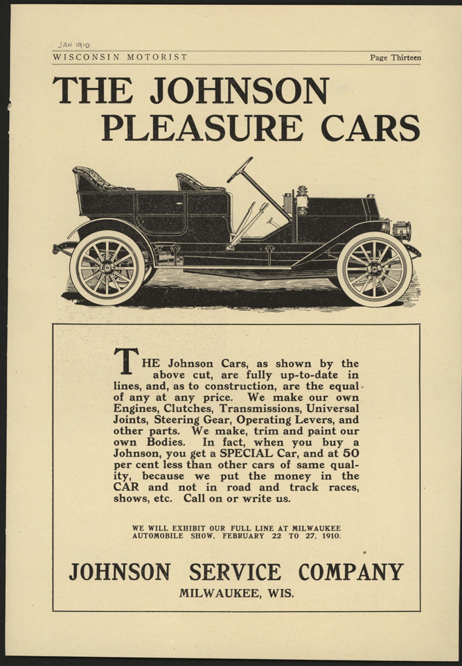 Johnson Service Company, Milwaukee, WI, January 1910 Magazine Advertisement, Wisconsin Motorist, p. 13, Conde Collection.
