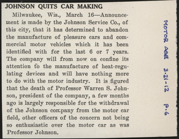 Johnson Service Company, Milwaukee, WI, March 21, 1912, Motor Age Article, p. 6, Conde Collection.
