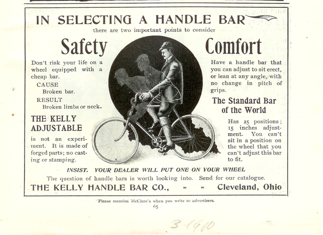 Kelly Handle Bar Company, McClure's Magazine Advertisement, March 1900, p. 65.