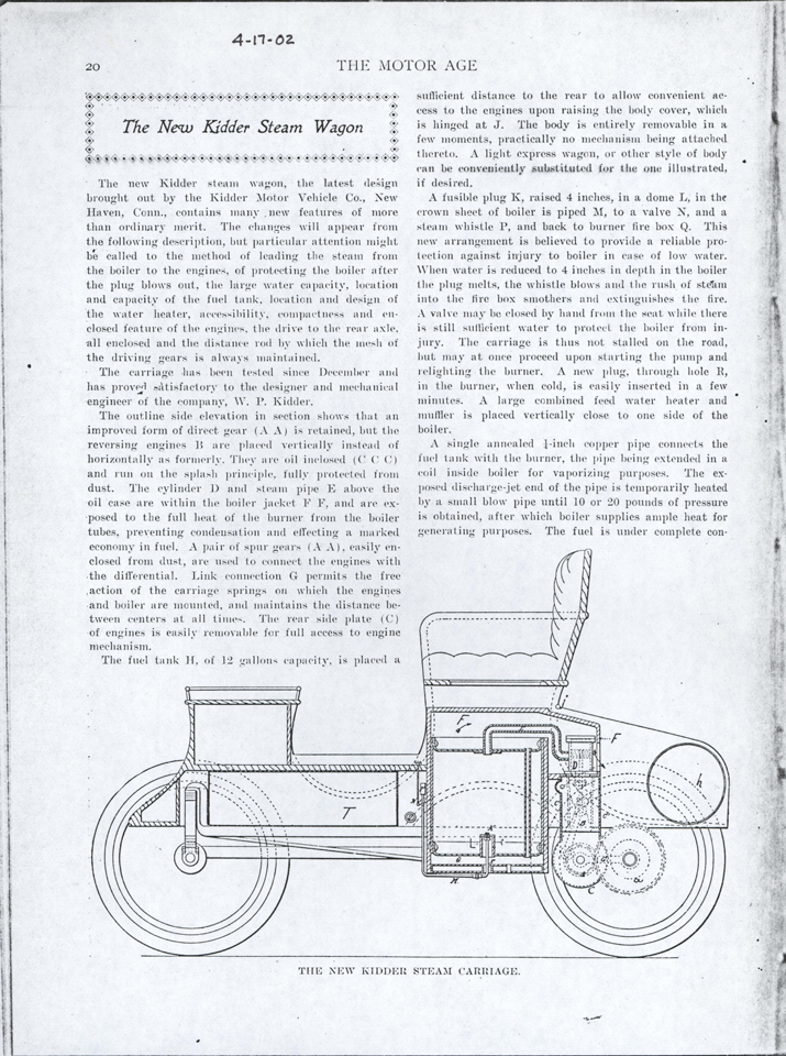 Kidder Motor Vehicle Company, April 17, 1902 Motor Age, Page 20, Photocopy, Conde Collection.