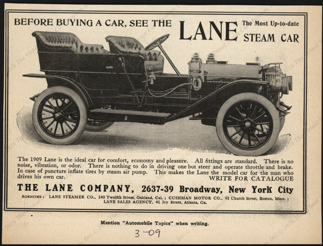 The Lane Company, Automobile Topiocs, Magazine Advertisement, March 1909