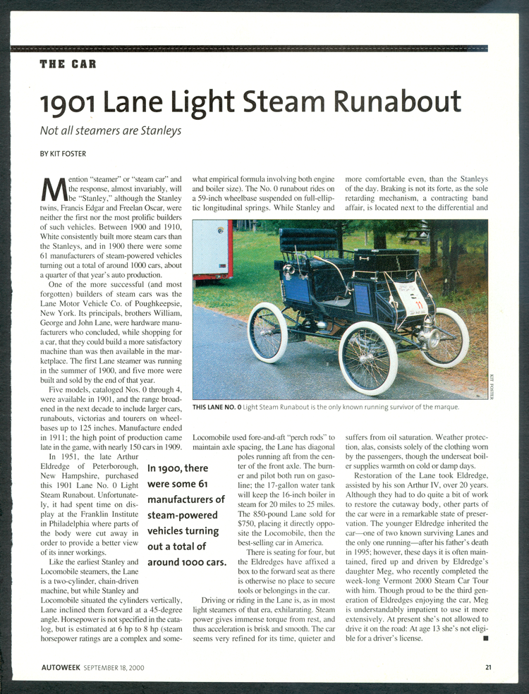 Kit Foster Article, Lane Motor Vehicle Compnay, Autoweek Magazine, September 18, 2000, p. 21.