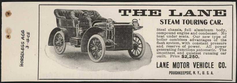 Lane Motor Vehicle Company, Magazine Advertisement, March 15, 1905, The Horseless Age, Conde Collcetion