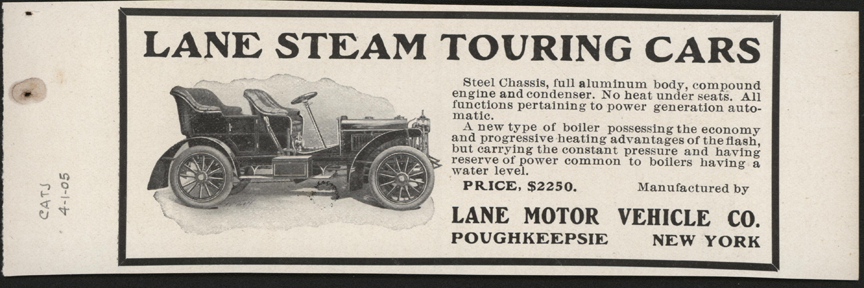 Lane Motor Vehicle Company, April 1905 Magazine Advertisement, Cycle and Automobile Trade Journal, John A. Conde Collection