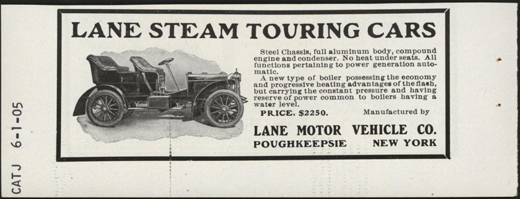 Lane Motor Vehicle Company, June 1905 Magazine Advertisement, Cycle and Automobile Trade Journal, John A. Conde Collection
