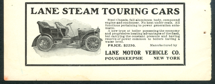 Lane Motor Vehicle Company, September 1905 Magazine Advertisement, Cycle and Automobile Trade Journal, John A. Conde Collection