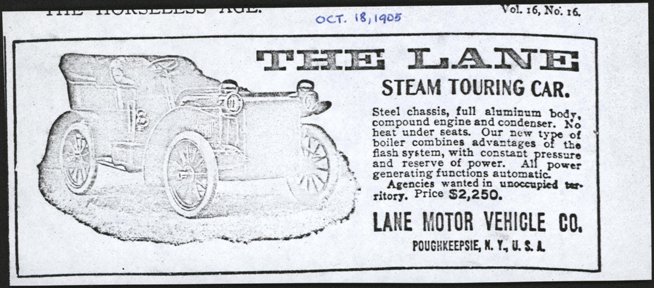 Lane Motor Vehicle Company Magazine Advertisement, Horseless Age, October 18, 1905, Photocopy, Conde Collection