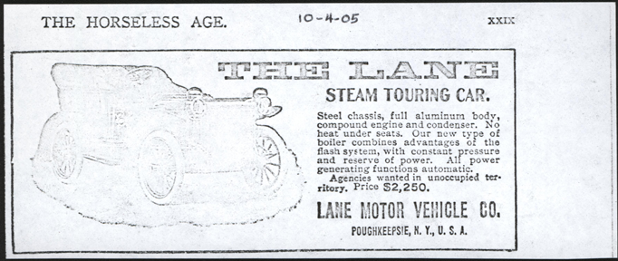 Lane Motor Vehicle Company, October 1905 Magazine Advertisement, Horseless Age, Photocopy, John A. Conde Collection
