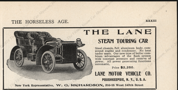 Lane Motor Vehicle Comany, Magazine Advertisement,   1905 Horseless Age, November 29, 1905,  p. XXXIII
