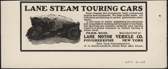 Lane Motor Vehicle Company, December 1905 Magazine Advertisement, Cycle and Automobile Trade Journal, John A. Conde Collection