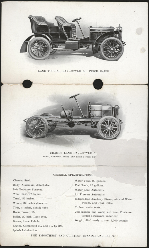 Lane Motor Vehicle Company, Trade Catalogue, 1905, Style 6 Reverse