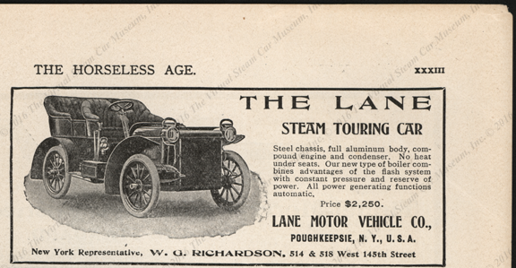 Lane Motor Vehicle Company, January 3, 1906, Horseless Age Magazine Advertisement, page XXXIII