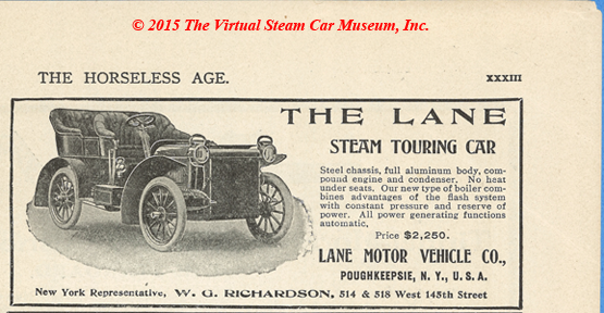 Lane Motor Vehicle Company Magazine Advertisement, January 3, 1906, Horseless Age, W. G. Richardson, New York Agent, p. xxxiii.