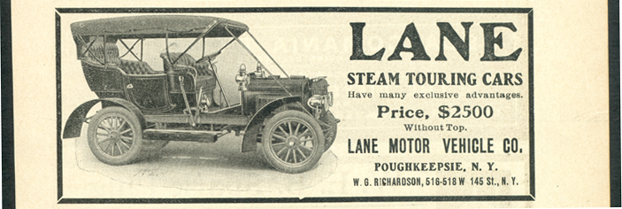 Lane Motor Vehicle Company Magazine Advertisement, August 1906, Cycle and Autombile Trade Journal, p. 263, Conde Collection