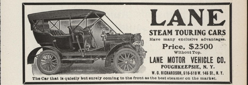 Lane Motor Vehicle Company Magazine Advertisement, January 1907, Cycle and Autombile Trade Journal, p. 433, Conde Collection
