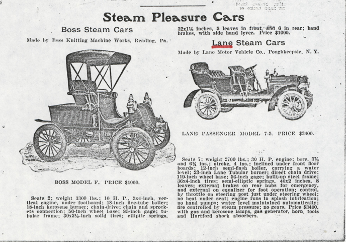 Lane Motor Vehicle Company Magazine Advertisement, March 1907, Cycle and Autombile Trade Journal, p. 226, Conde Collection