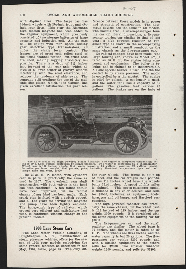 Lane Motor Vehicle Company, November 1907 Magazine Article, Cycle and Autombile Trade Journal, p. 180, Conde Collection