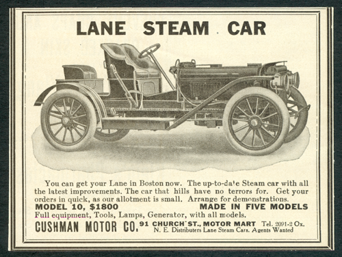 Lane Motor Vehicle Company Magazine Advertisement, 1908 Unknown Source