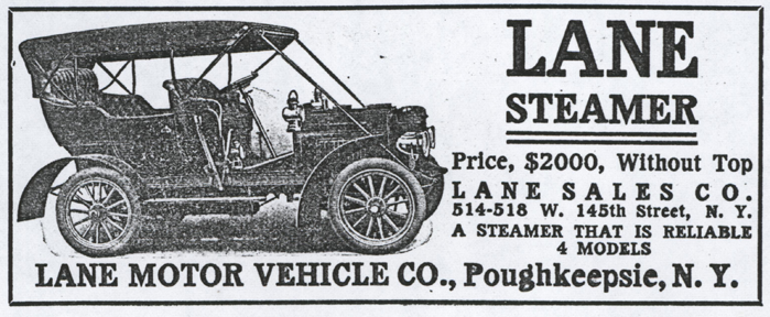 Lane Motor Vehicle Company Magazine Advertisement, Cycle and Automobile Trade Journal, August 1908, p. 215, photocopy, Conde Collection