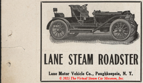 Lane Motor Vehicle Company Magazine Advertisement, Cycle and Automobile Trade Journal, April 1909, p. 309, Conde Collection