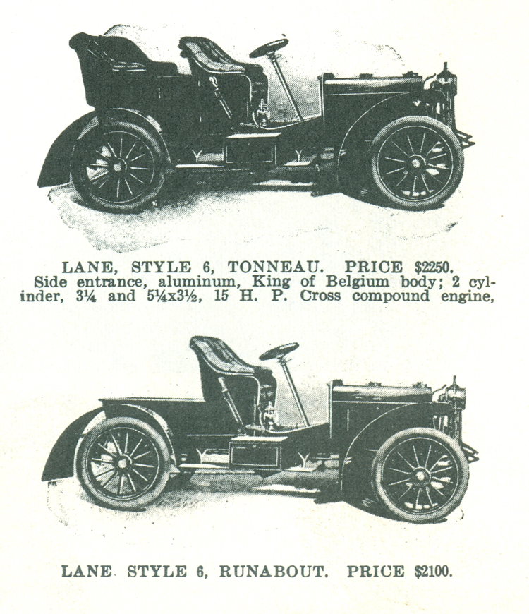 Lane Motor Vehicle Company, ca 1906 advertisement in Floyd Clymer's Steam Car Scrapbook