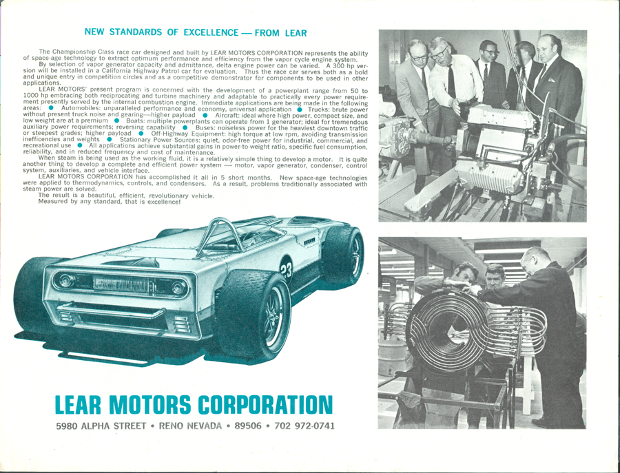 Lear Motors Corporation Brochure, Lear Vapordyne