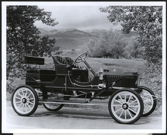 1909 Stanley Steam Car shown at William Lear's Vapor Turbine Coach at Leareno, ca: early 1970s