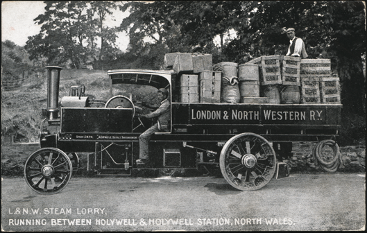 London and North Western Railway Steam Lorry, July 27, 1908, Postcard, Front