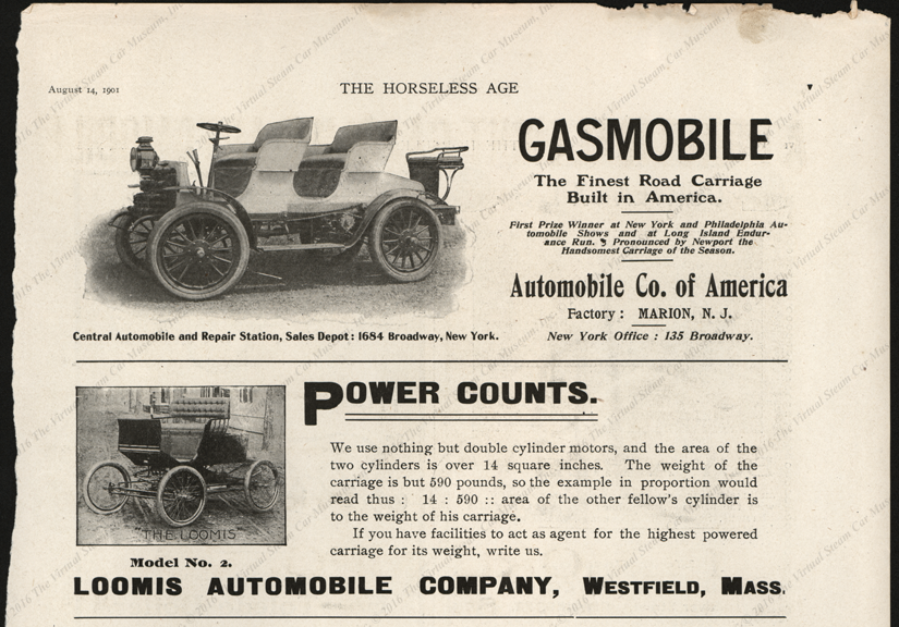 Loomis Automobile Company, August 14, 1901, Horseless Age Advertisement