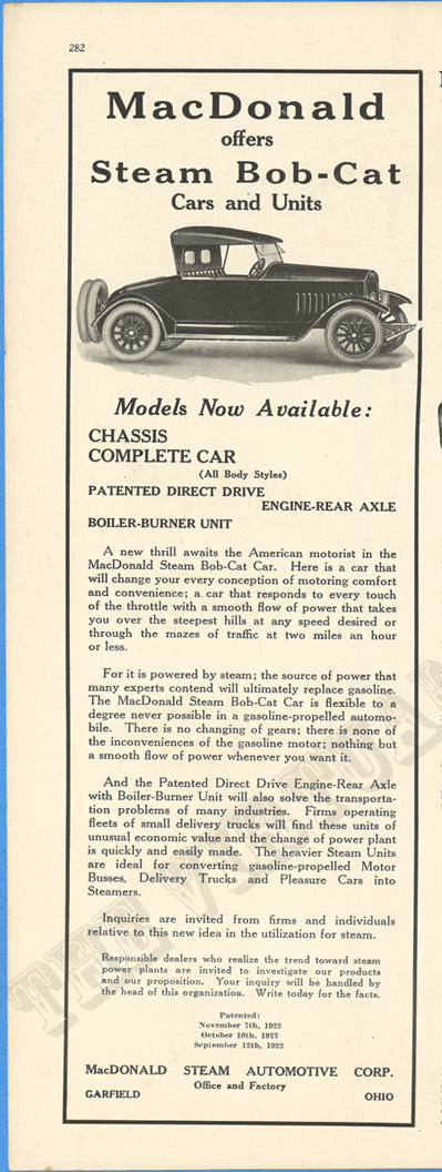 MacDonald Steam Automotive Corporation, January 1924 advertisement, Motor Magazine, p. 368.  CHECK DATE