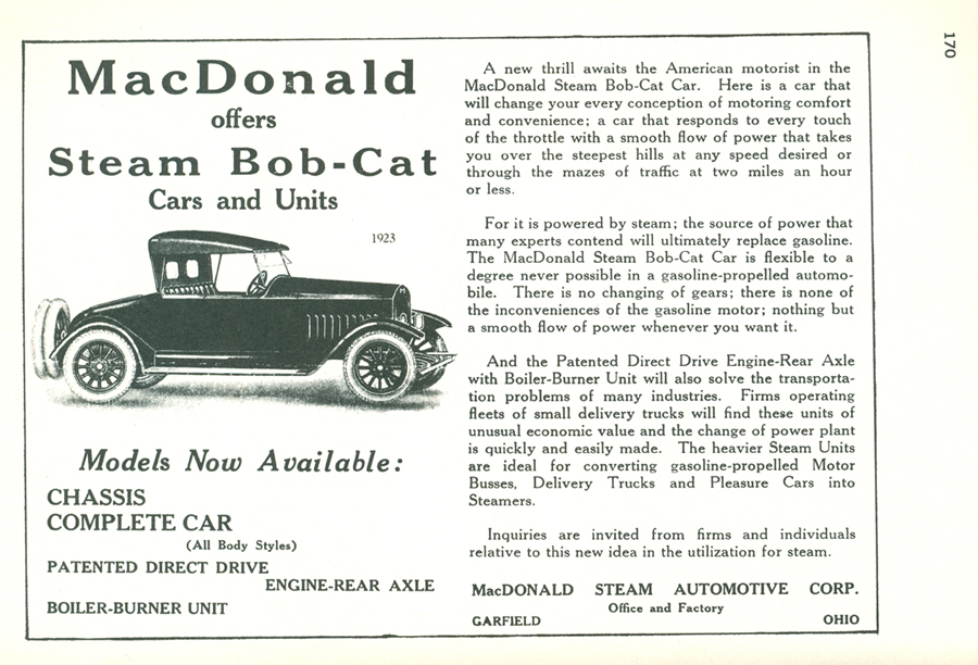 McDonald Steam Automotive Corp. Advertisement, Floyd Clymer Book