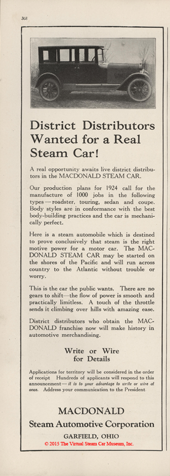 MacDonald Steam Automotive Corporation, January 1924 advertisement, Motor Magazine, p. 368.