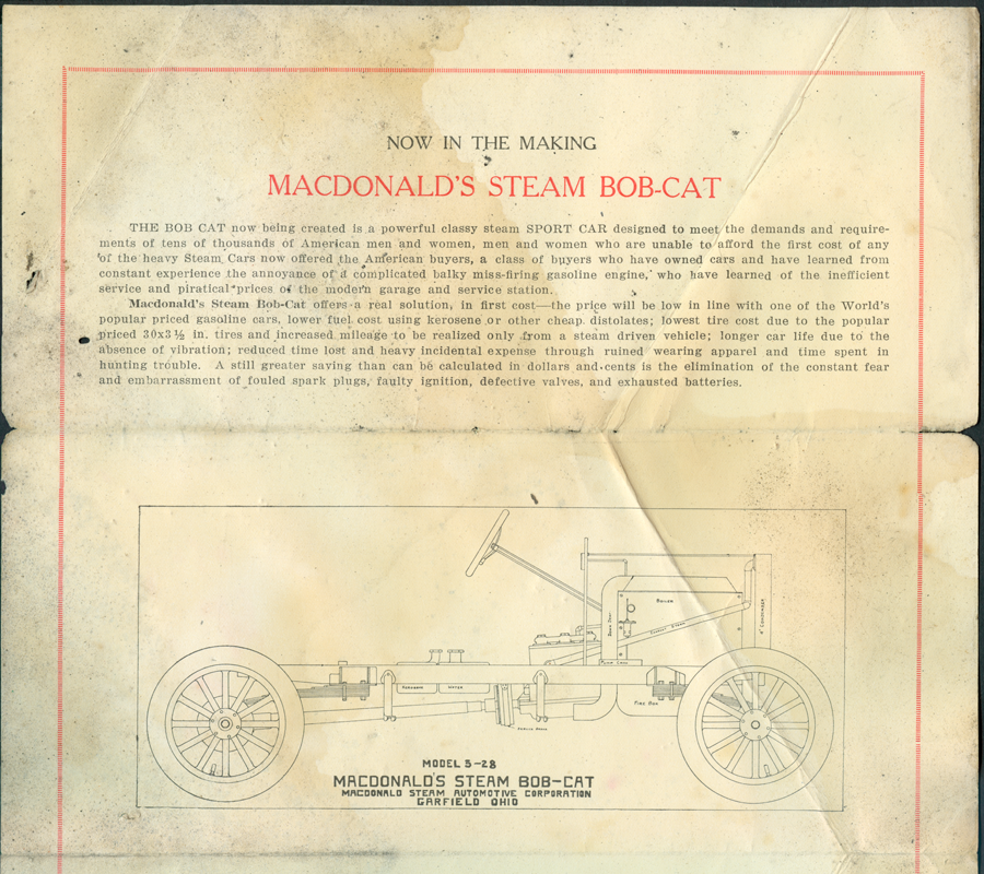 MacDonald Steam Automobive Corporation Brochure