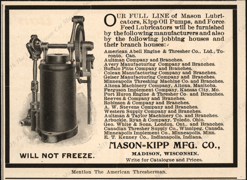 Madison-Kipp Manufacturing Company, Madison, WI, 1903 Magazine Advertisement, American Threasherman