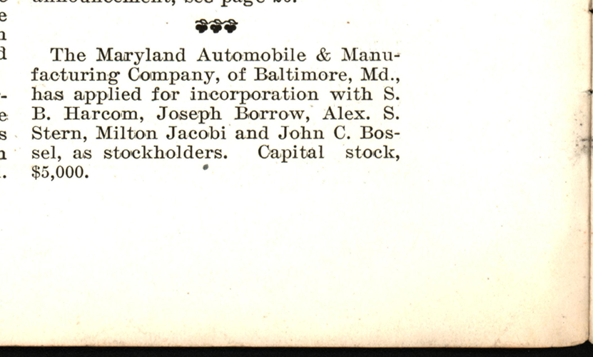 Maryland Automobile &  Manufacturing Company, Incorporation, Motor Vehicle Review, March 20, 1900.