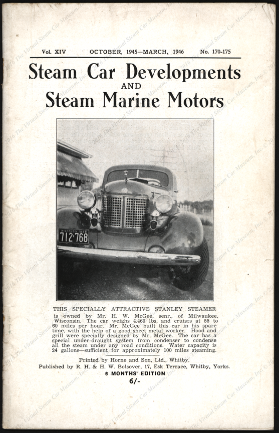 Harry W. McGee Steam Car, ca: 1940, Steam Car Developments and Steam Marine Motors Magazine, Vol. XVI, Nos. 170 - 175, Front Cover