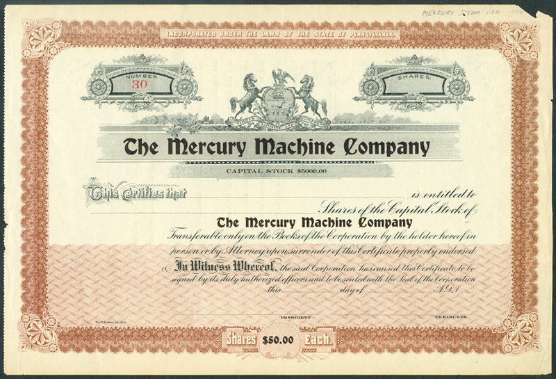 Mercury Machine Co Stock Certificate