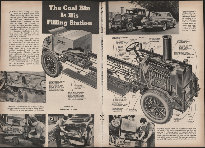 Mershon Patent Shaking Grate, Coal Fired Stanley Steam Cars, Popular Mechanics, December 1943, pp. 60-61