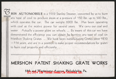 Mershon Patent Shaking Grate Works, Coal Fired Stanley Steam Car, 1923
