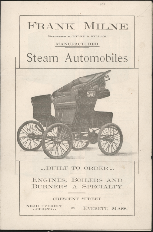 Frank Milne Steam Automobile, Everett, MA,  Trade Catalogue, ca: 1901, p. 1