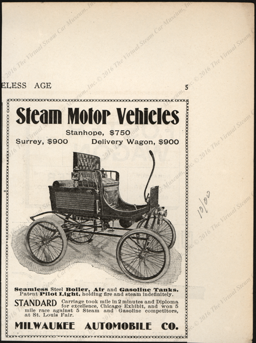 Milwaukee Automobile Company, Horseless Age Magazine Advertisement, October 1900, page 5