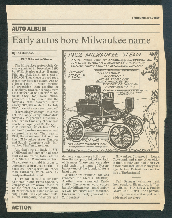 Milwaukee Automobile Company Steam Car, Tad Burness Newspaper Feature, 1992